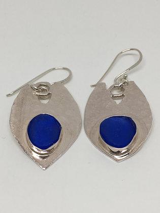 Cobalt Shields Seaglass Earrings