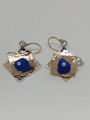 Gold on Silver Seaglass Earrings