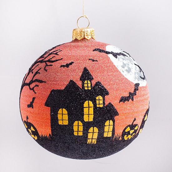 "#2195 - Thomas Glenn ""Haunted House"" Ball Halloween Ornament"