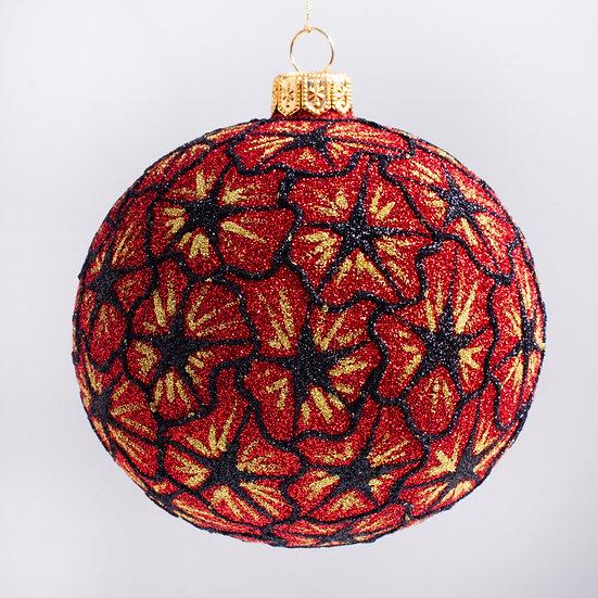 "#1841R - Thomas Glenn ""Starburst - Red"" Ball Christmas Ornament"