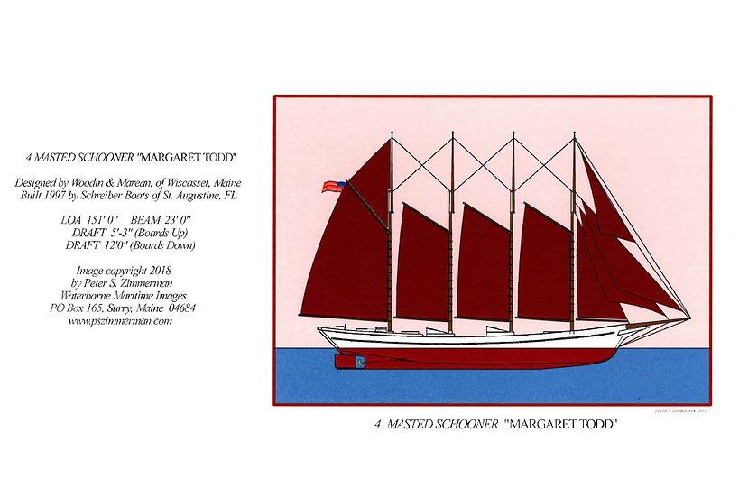 "4 Masted Schooner ""Margaret Todd"" Card"