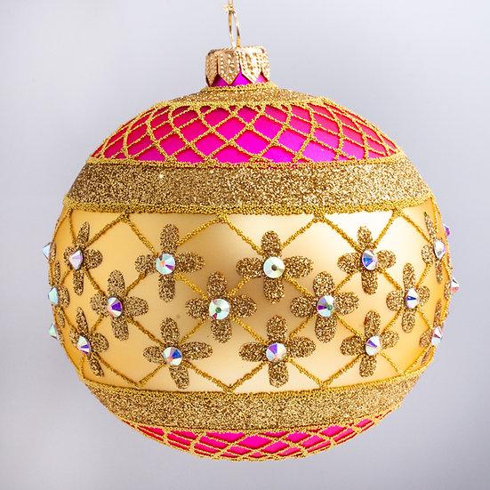 "#635PK-GD - Thomas Glenn ""Coronation - Pink & Gold"" Ball Christmas Ornament"