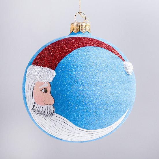 """#2169 - Thomas Glenn """"Crescent Santa"""" Ball Christmas Ornament"""