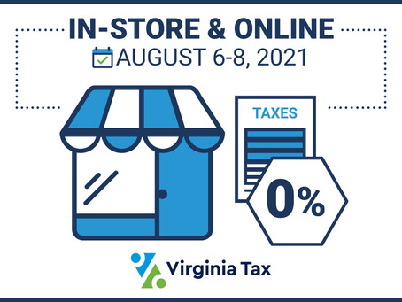 Virginia's 3-Day Sales Tax Holiday | August 6 - 8, 2021