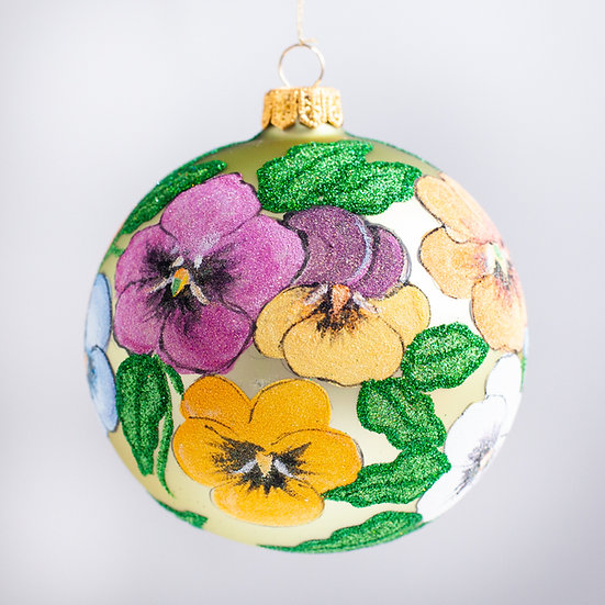 "#2153 - Thomas Glenn ""Pansies"" Ball Christmas Ornament"
