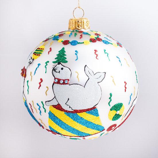 "#2176 - Thomas Glenn ""Christmas Seals"" Ball Christmas Ornament"