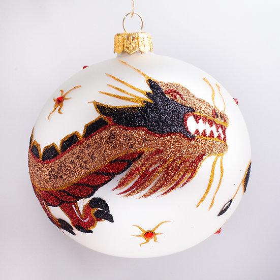 "#140W - Thomas Glenn ""Dragon Ball - White"" Ball Christmas Ornament"