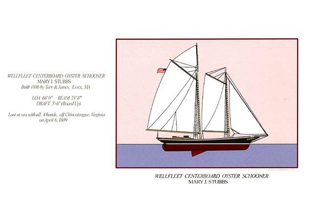 Wellfleet Centerboard Oyster Schooner Card by Artisan Peter Zimmerman