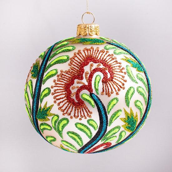 "#76IVORY - Thomas Glenn ""Canton - Ivory"" Ball Christmas Ornament"