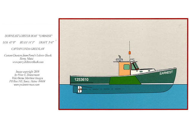 "Downeast Lobster Boat ""Ernest"" Card by Artisan Peter Zimmerman"