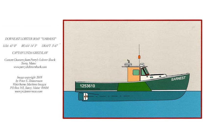 """Downeast Lobster Boat """"Ernest"""" Card"""