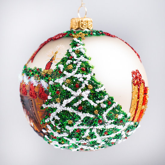 """#2137 - Thomas Glenn """"By The Chimney With Care"""" Ball Christmas Ornament"""
