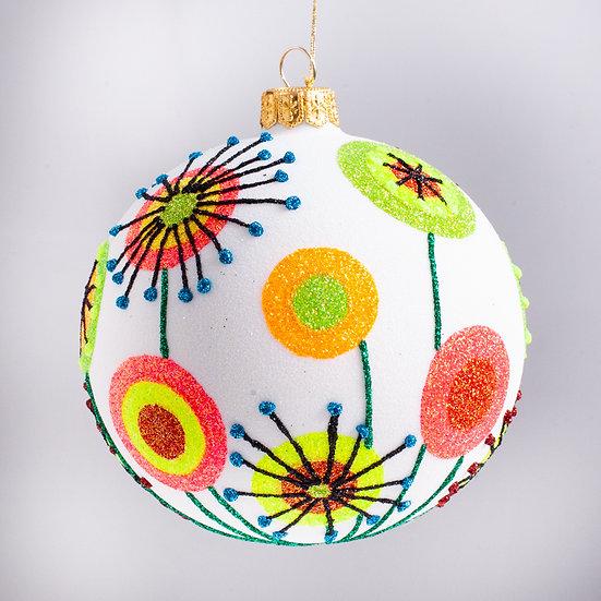 "#2118 - Thomas Glenn ""Flower Power"" Ball Christmas Ornament"