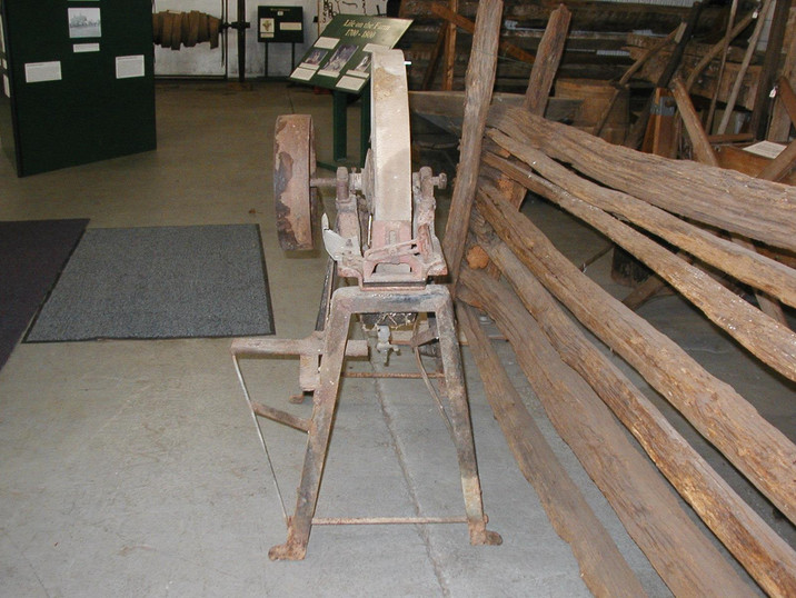 Early 1900's Grindstone from the Jerman Farm - given to the Museum on 12/13/13 - one side view.