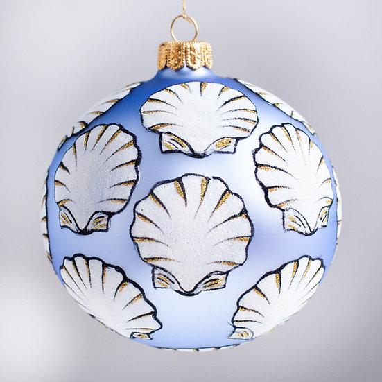 "#2139 - Thomas Glenn ""On the Half Shell - Blue"" Ball Christmas Ornament"