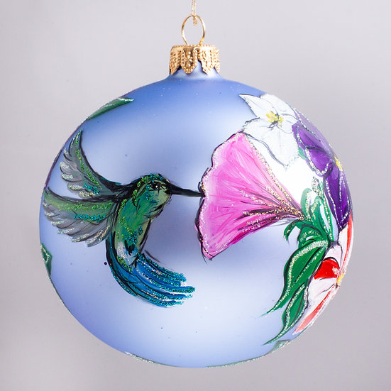 "#2157 - Thomas Glenn ""Hummingbirds"" Ball Christmas Ornament"