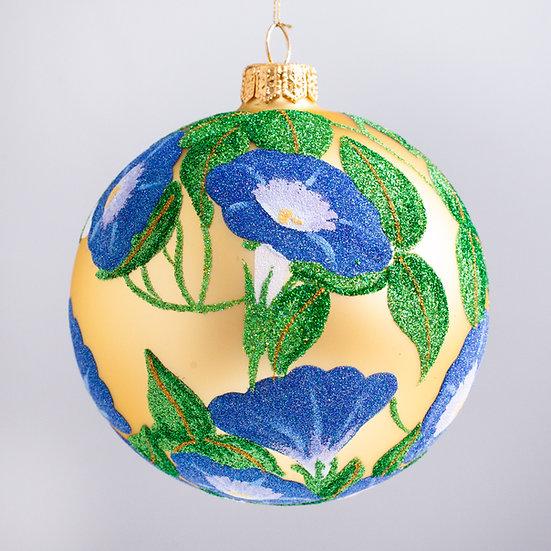 "#2156 - Thomas Glenn ""Glittery Morning Glories"" Ball Christmas Ornament"