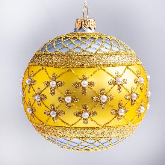 """#635LB-Y - Thomas Glenn """"Coronation - Lt Blue & Yellow"""" Ball Christmas Ornament"""