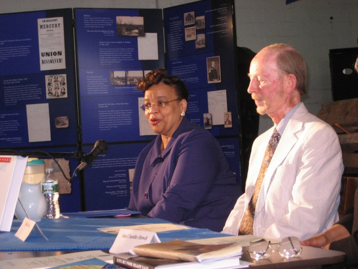 DAR Geneologist Hollis Gentry [on left] and Kevin Lowther