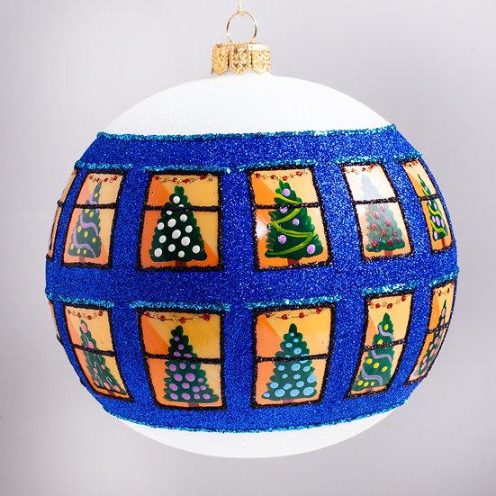 "#2123B - Thomas Glenn ""Home for the Holidays - Blue"" Ball Christmas Ornament"