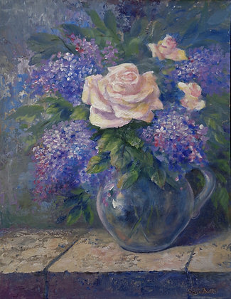 Yellow Rose and Lilacs