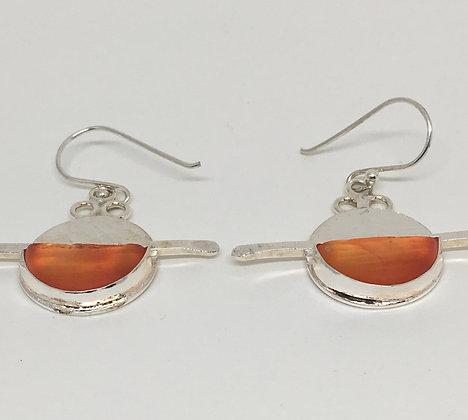 Sunburst Orange Ohajiki Marble Earrings