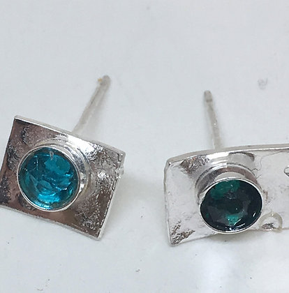 Blue Teal Swarovski Crystal Earrings