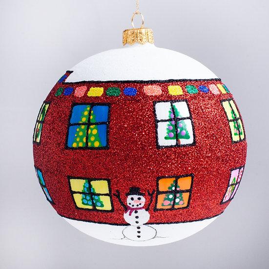 "#2123R - Thomas Glenn ""Home for the Holidays - Red"" Ball Christmas Ornament"