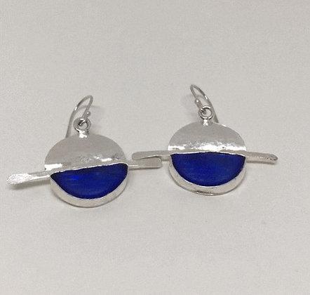 Starburst Blue Ohajiki Marble Earrings