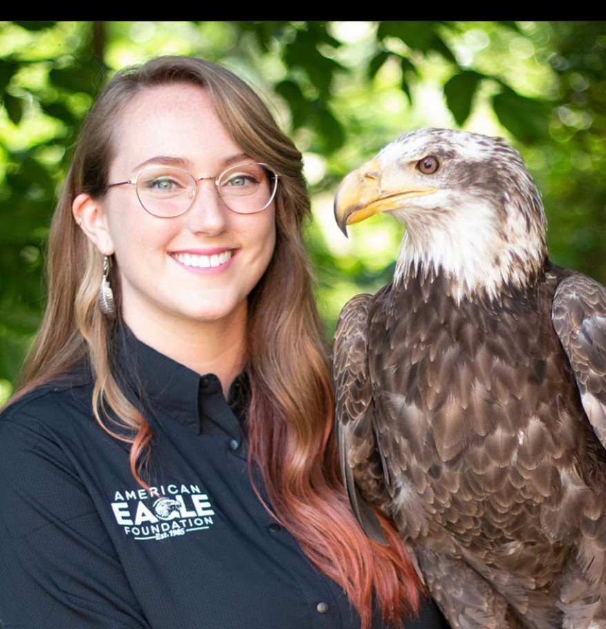 Andrea M with Bald Eagle and prairie fal