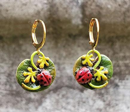 Pollinator Ladybug Earrings