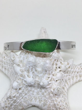 Green Into the Mystic Seaglass Cuff
