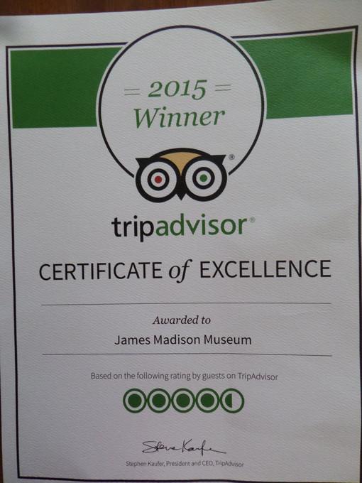 TripAdvisor Award May 2015