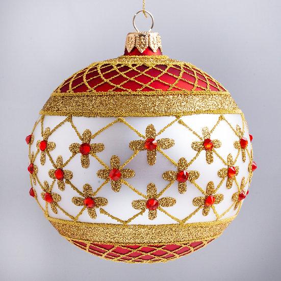 """#635R-W - Thomas Glenn """"Coronation - Red & White"""" Ball Christmas Ornament"""