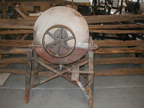 Early 1900's Grindstone from the Jerman Farm - given to the Museum on 12/13/13 - view from the front.