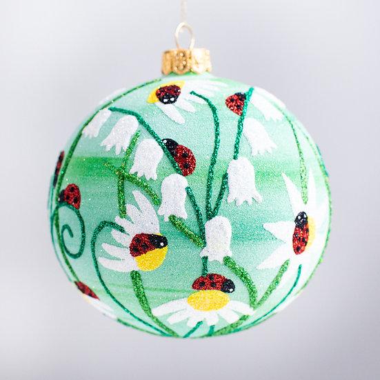 """#2158 - Thomas Glenn """"Ladybugs"""" Ball Christmas Ornament"""