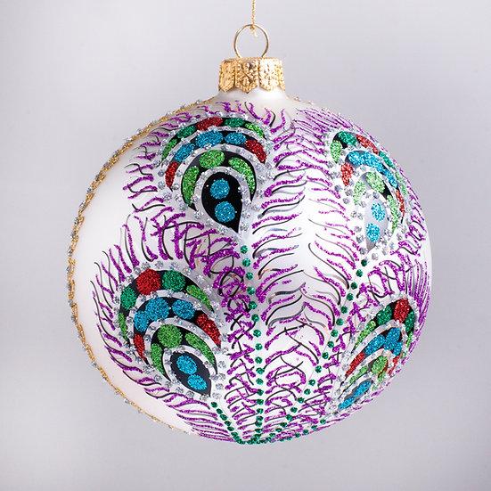 "#605W - Thomas Glenn ""Peacock - White"" Ball Christmas Ornament"