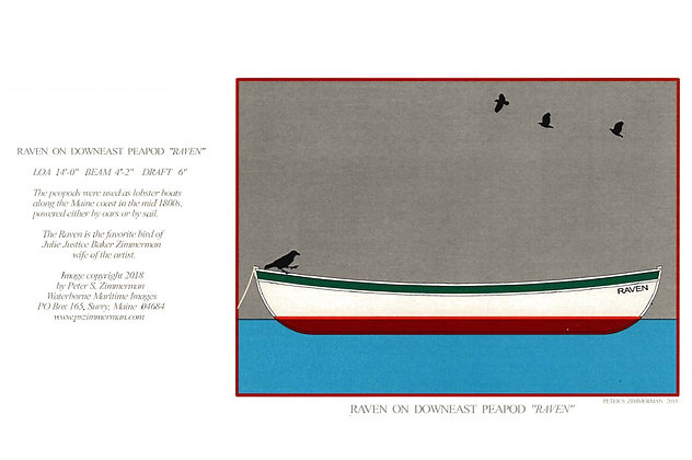 "Raven on Downeast Peapod ""Raven"" Card by Artisan Peter Zimmerman"