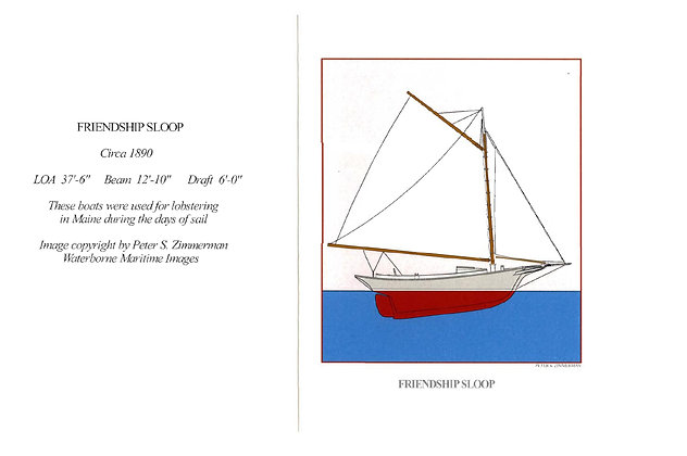 Friendship Sloop Card by Artisan Peter Zimmerman