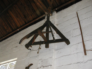 Harrow, Circa early 1800's. Small garden harrow. All wood. A harrow was used to break-up and smooth the soil.