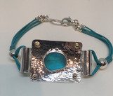 Seaglass, Silver and Leather Bracelet