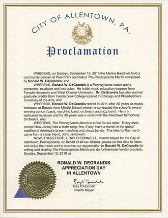 Allentown Mayor Ray O'Connell Proclamation