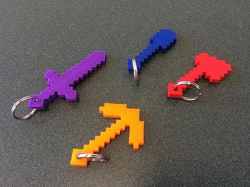Porte clef minecraft (lot de 4)