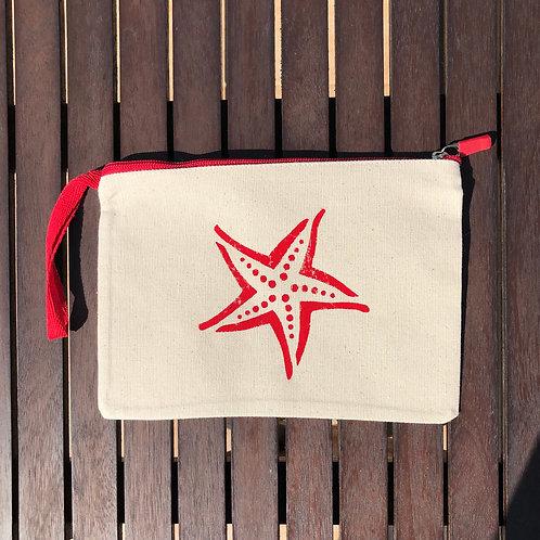 Kırmızı Fermuarlı Deniz Yıldızı Clutch Çanta