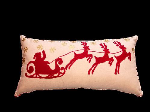Noel Baba ve Ren Geyikleri Yılbaşı Konsepti Yastık