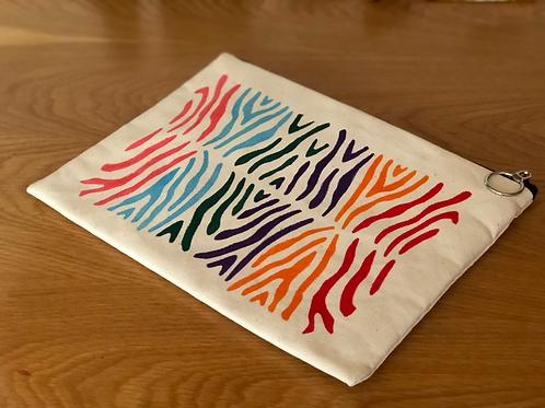 Zebra Desenli Krem Clutch No.17