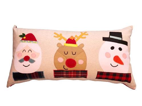 Noel Baba, Ren Geyiği ve Kardan Adam Yılbaşı Konseptli Yastık