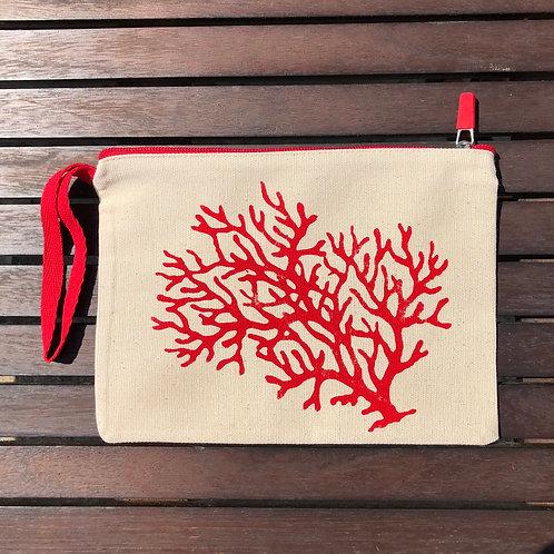 Kırmızı Fermuarlı Mercan Clutch Çanta