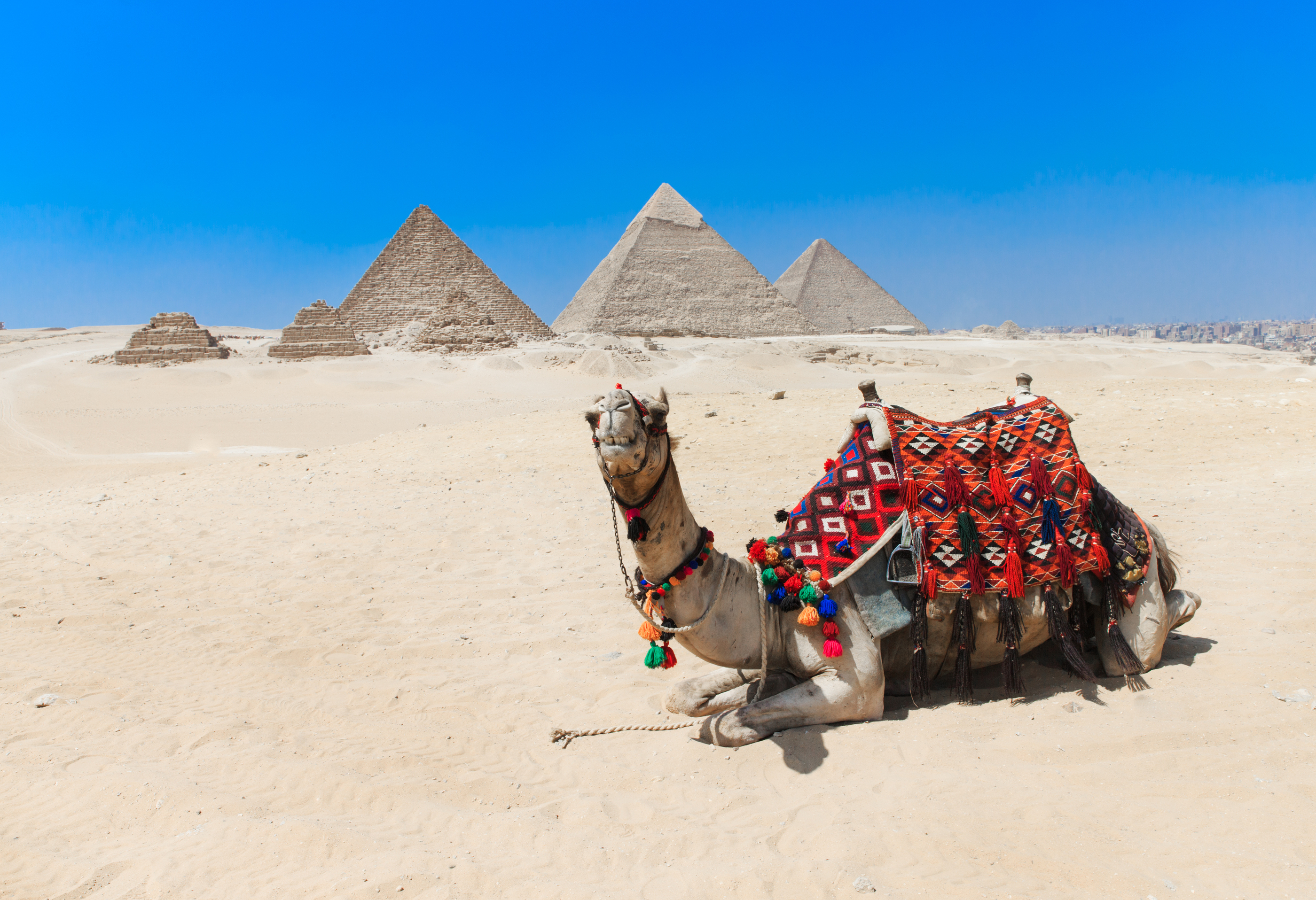 pyramids with a beautiful sky of Giza in Cairo, Egypt.__