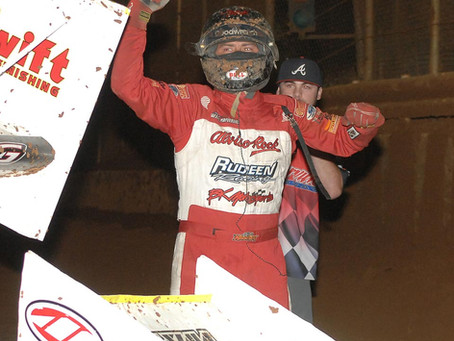 Bud Kaeding races to fourth King of the West victory of the season on Saturday at Placerville Speedw